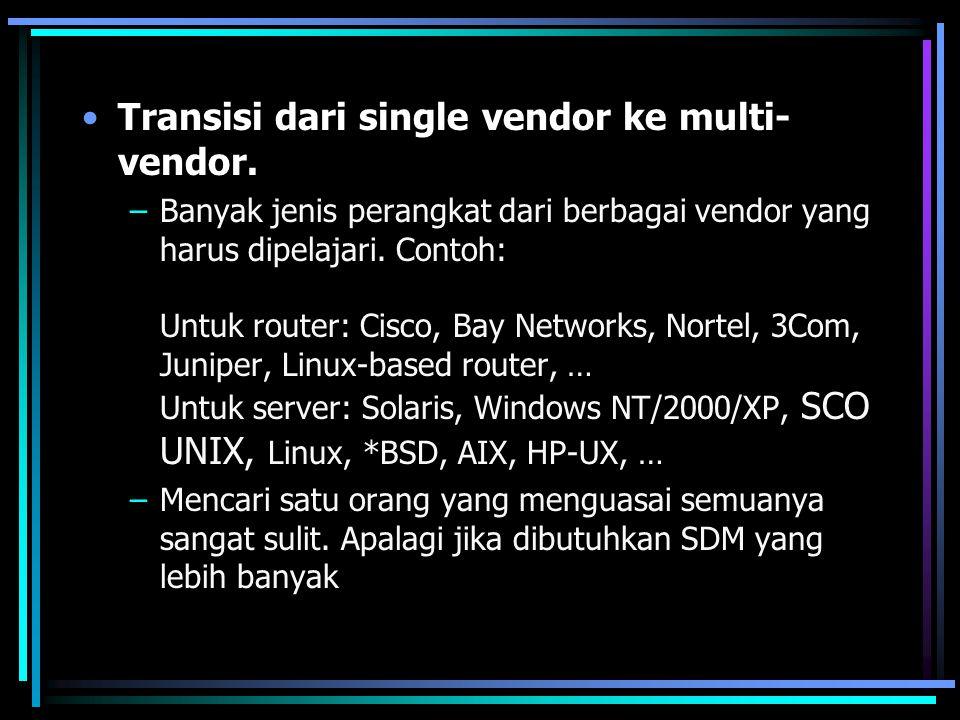 Transisi dari single vendor ke multi- vendor. –Banyak jenis perangkat dari berbagai vendor yang harus dipelajari. Contoh: Untuk router: Cisco, Bay Net