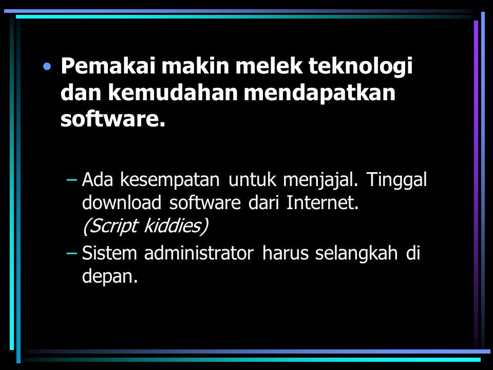 Pemakai makin melek teknologi dan kemudahan mendapatkan software. –Ada kesempatan untuk menjajal. Tinggal download software dari Internet. (Script kid