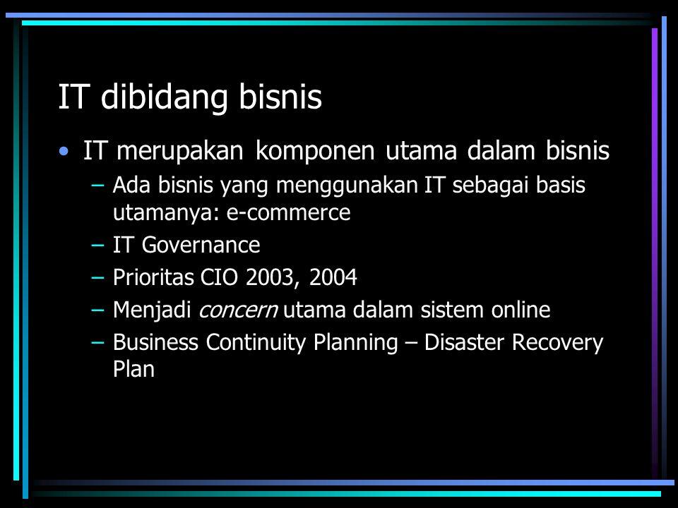 IT dibidang bisnis IT merupakan komponen utama dalam bisnis –Ada bisnis yang menggunakan IT sebagai basis utamanya: e-commerce –IT Governance –Prioritas CIO 2003, 2004 –Menjadi concern utama dalam sistem online –Business Continuity Planning – Disaster Recovery Plan