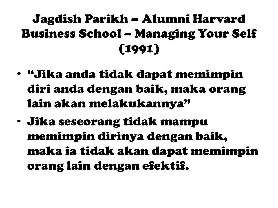 Jagdish Parikh – Alumni Harvard Business School – Managing Your Self (1991) Jika anda tidak dapat memimpin diri anda dengan baik, maka orang lain akan melakukannya Jika seseorang tidak mampu memimpin dirinya dengan baik, maka ia tidak akan dapat memimpin orang lain dengan efektif.