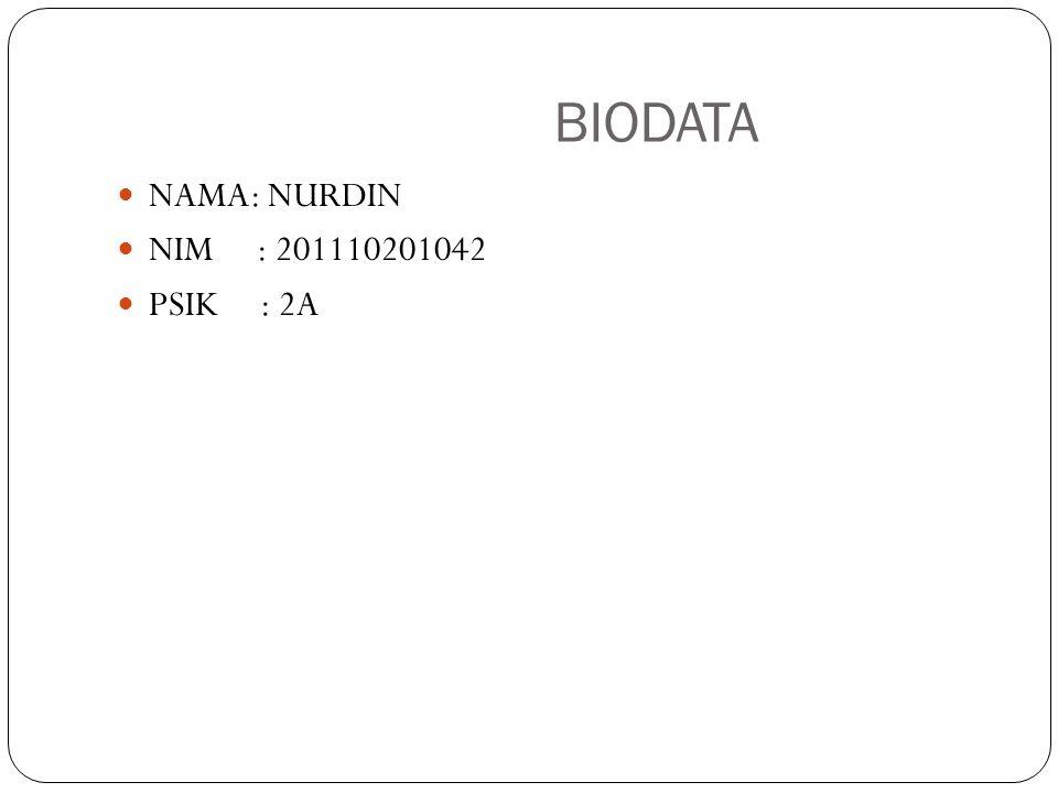 BIODATA NAMA: NURDIN NIM : 201110201042 PSIK : 2A