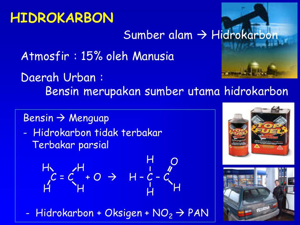 HIDROKARBON Sumber alam  Hidrokarbon Atmosfir : 15% oleh Manusia Daerah Urban : Bensin merupakan sumber utama hidrokarbon Bensin  Menguap - Hidrokar