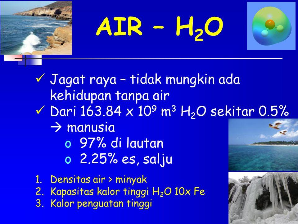 AIR – H 2 O Jagat raya – tidak mungkin ada kehidupan tanpa air Dari 163.84 x 10 9 m 3 H 2 O sekitar 0.5%  manusia o97% di lautan o2.25% es, salju 1.D