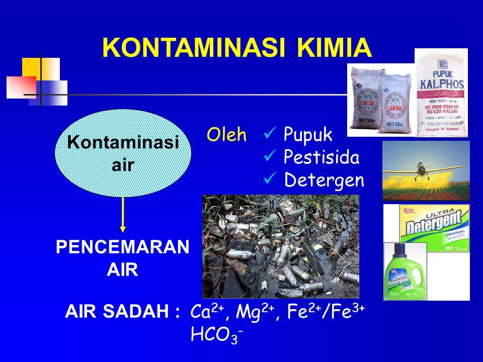 KONTAMINASI KIMIA Kontaminasi air PENCEMARAN AIR AIR SADAH : Oleh Pupuk Pestisida Detergen Ca 2+, Mg 2+, Fe 2+ /Fe 3+ HCO 3 -