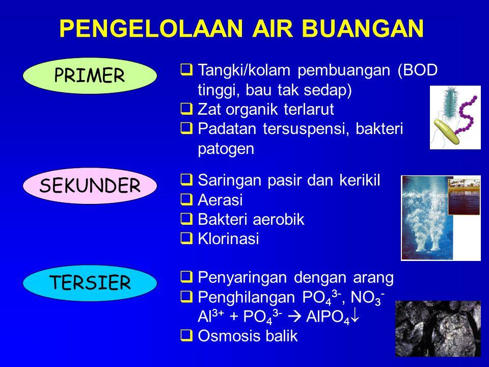 PENGELOLAAN AIR BUANGAN PRIMER  Tangki/kolam pembuangan (BOD tinggi, bau tak sedap)  Zat organik terlarut  Padatan tersuspensi, bakteri patogen SEK