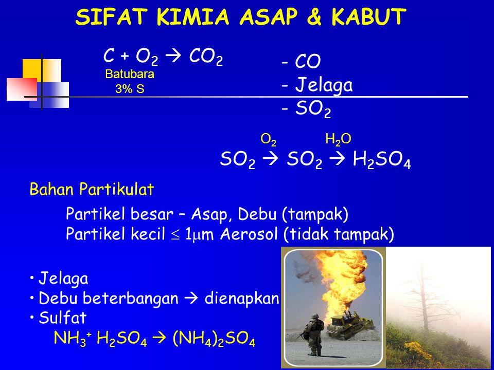 SIFAT KIMIA ASAP & KABUT C + O 2  CO 2 Batubara 3% S - CO - Jelaga - SO 2 SO 2  SO 2  H 2 SO 4 O2O2 H2OH2O Bahan Partikulat Partikel besar – Asap,