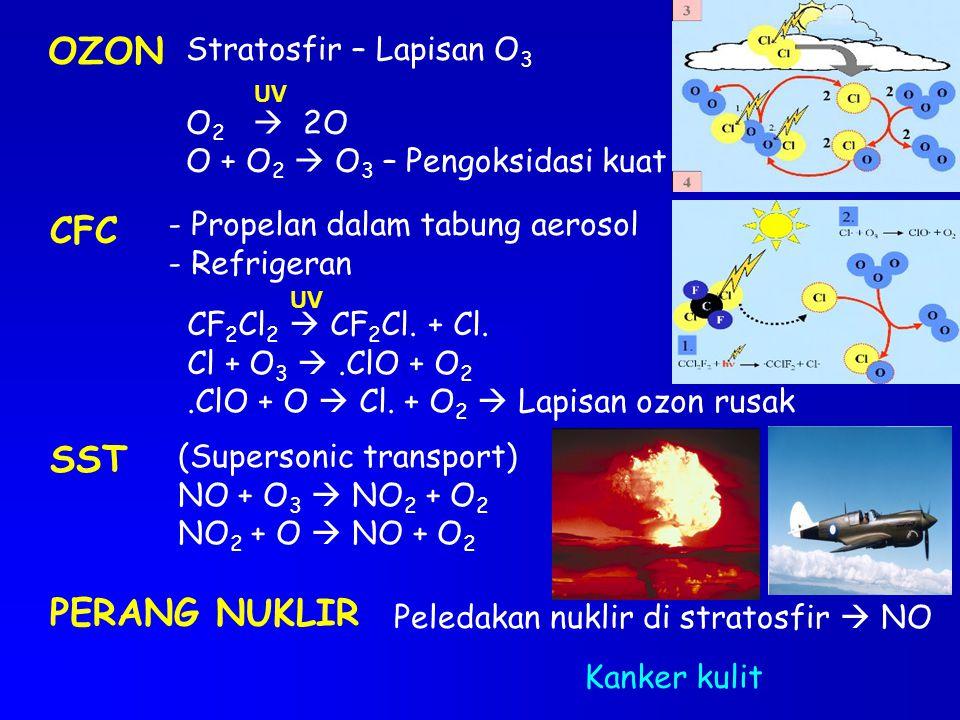 OZON Stratosfir – Lapisan O 3 O 2  2O O + O 2  O 3 – Pengoksidasi kuat UV CFC - Propelan dalam tabung aerosol - Refrigeran CF 2 Cl 2  CF 2 Cl. + Cl