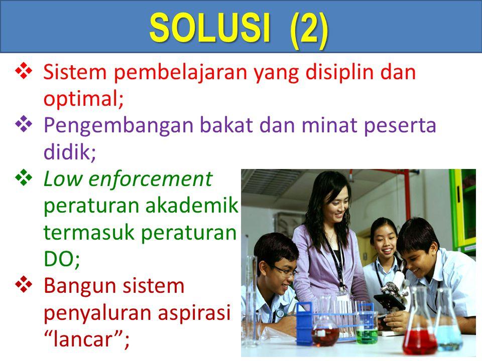 SOLUSI (2)  Sistem pembelajaran yang disiplin dan optimal;  Pengembangan bakat dan minat peserta didik;  Low enforcement peraturan akademik termasuk peraturan DO;  Bangun sistem penyaluran aspirasi yg lancar ; 9