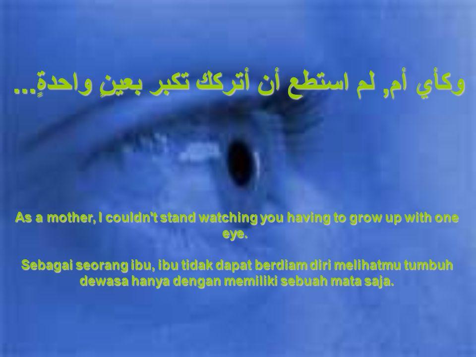 هل تعلم... لقد تعرضتَ لحادثٍ عندما كنت صغيراً وقد فقدتَ عينك. You see........when you were very little, you got into an accident, and lost your eye. P