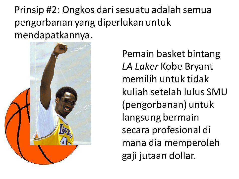 Prinsip #2: Ongkos dari sesuatu adalah semua pengorbanan yang diperlukan untuk mendapatkannya. Pemain basket bintang LA Laker Kobe Bryant memilih untu