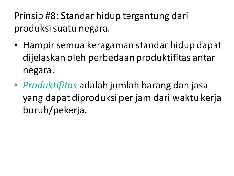 Prinsip #8: Standar hidup tergantung dari produksi suatu negara. Hampir semua keragaman standar hidup dapat dijelaskan oleh perbedaan produktifitas an