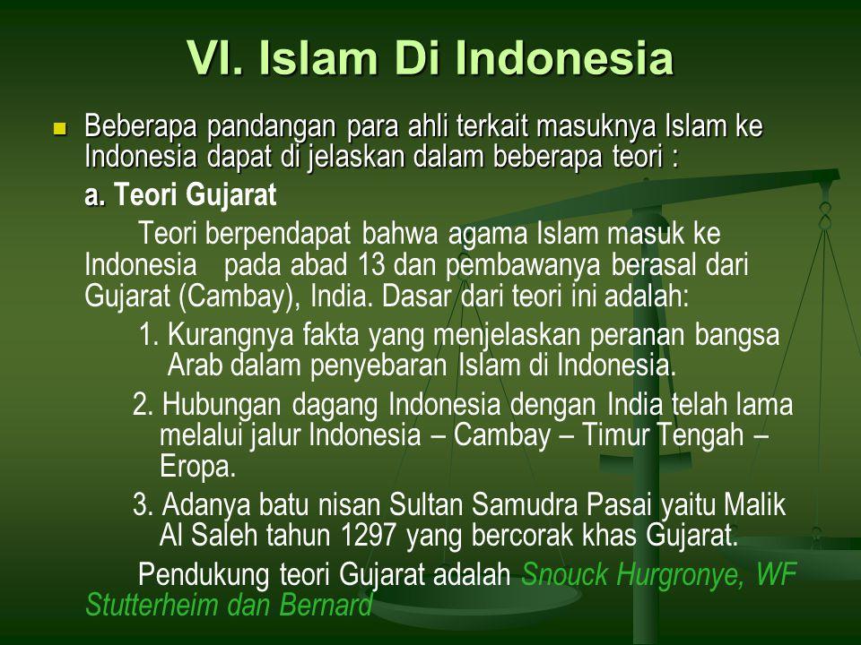 VI. Islam Di Indonesia Beberapa pandangan para ahli terkait masuknya Islam ke Indonesia dapat di jelaskan dalam beberapa teori : Beberapa pandangan pa
