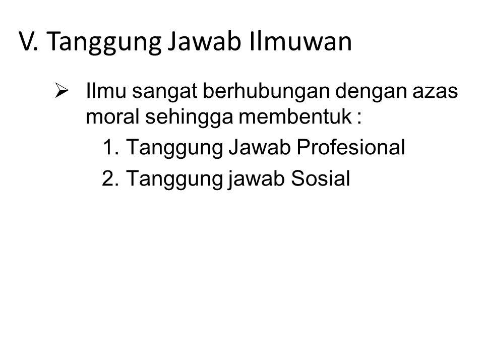 V. Tanggung Jawab Ilmuwan  Ilmu sangat berhubungan dengan azas moral sehingga membentuk : 1.Tanggung Jawab Profesional 2.Tanggung jawab Sosial