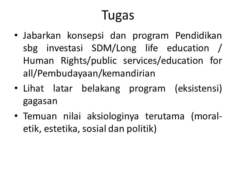 Tugas Jabarkan konsepsi dan program Pendidikan sbg investasi SDM/Long life education / Human Rights/public services/education for all/Pembudayaan/kema