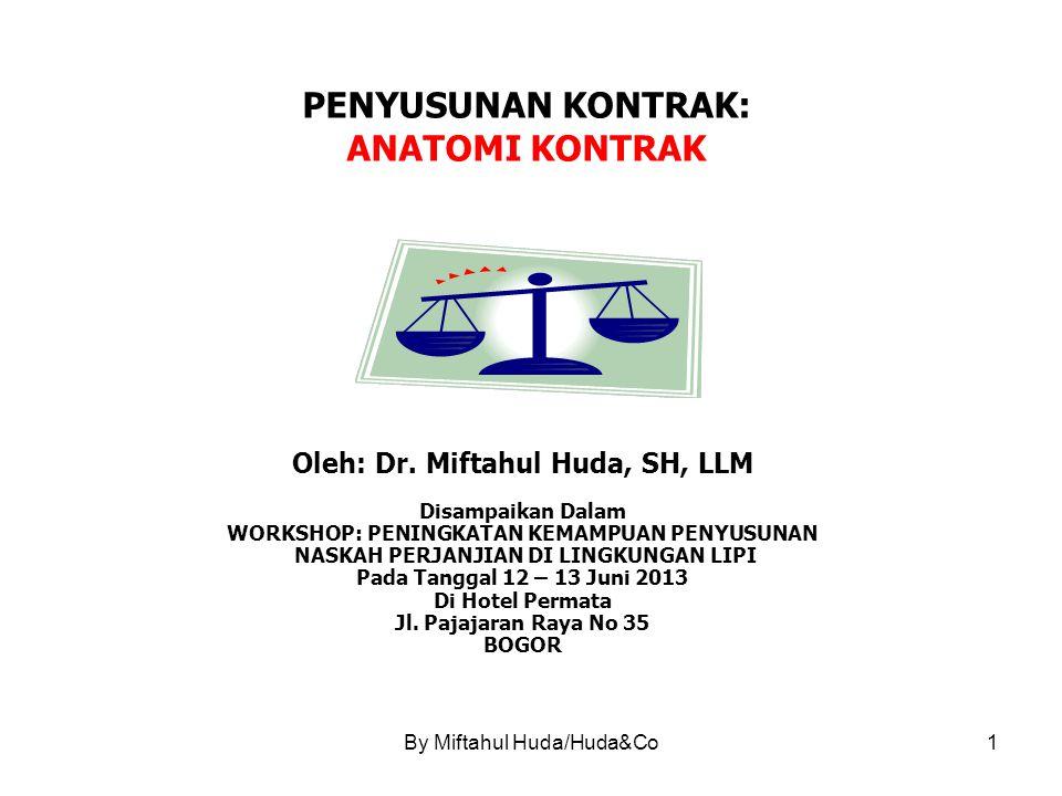 By Miftahul Huda/Huda&Co2 ANATOMI KONTRAK LINGKUP BAHASAN 1.Anatomi (Muatan Kontrak) Secara Yuridis.