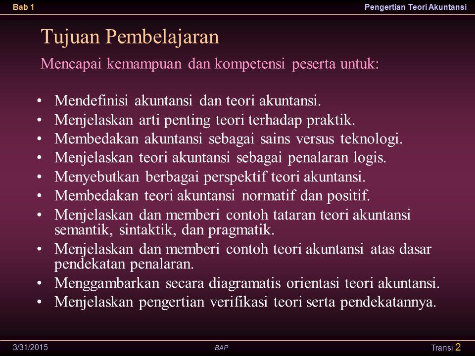 BAP Bab 1Pengertian Teori Akuntansi 3/31/2015 Transi 3 Taksonomi Bidang Akuntansi Seni.