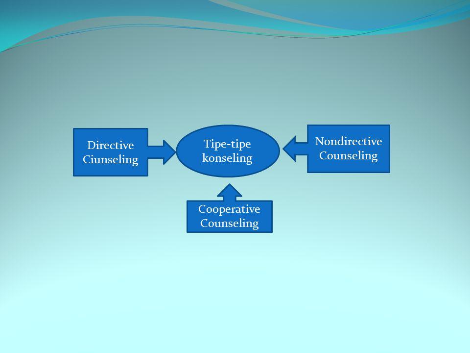 Tipe-tipe konseling Directive Ciunseling Nondirective Counseling Cooperative Counseling