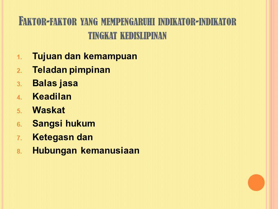 F AKTOR - FAKTOR YANG MEMPENGARUHI INDIKATOR - INDIKATOR TINGKAT KEDISLIPINAN 1. Tujuan dan kemampuan 2. Teladan pimpinan 3. Balas jasa 4. Keadilan 5.