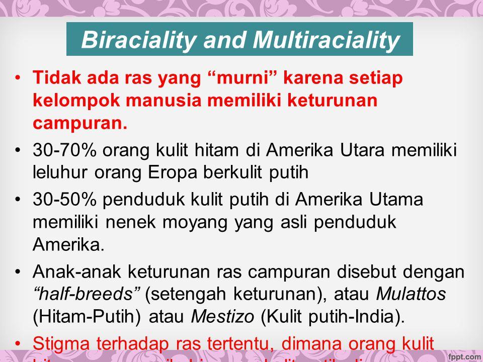 Biraciality and Multiraciality Tidak ada ras yang murni karena setiap kelompok manusia memiliki keturunan campuran.