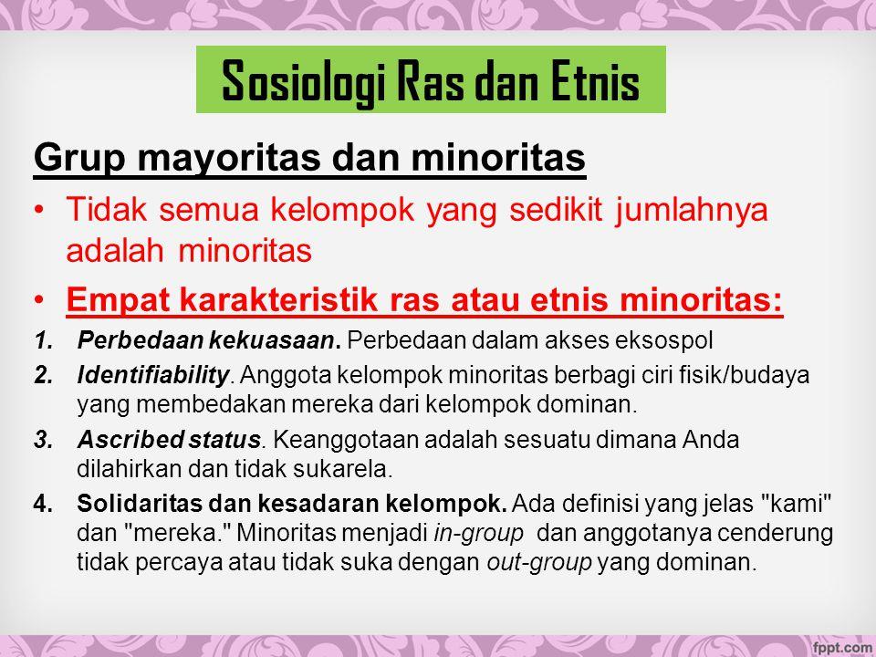 Sosiologi Ras dan Etnis Grup mayoritas dan minoritas Tidak semua kelompok yang sedikit jumlahnya adalah minoritas Empat karakteristik ras atau etnis minoritas: 1.Perbedaan kekuasaan.