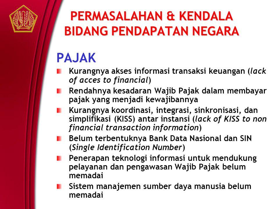 PERMASALAHAN & KENDALA BIDANG PENDAPATAN NEGARA PAJAK Kurangnya akses informasi transaksi keuangan (lack of acces to financial) Rendahnya kesadaran Wa