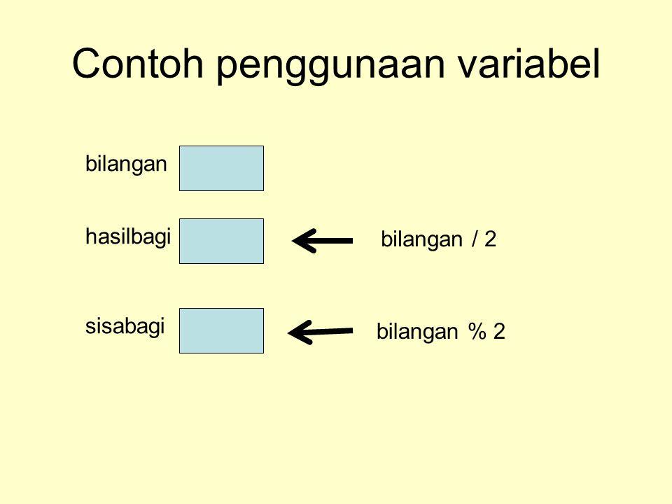 Contoh penggunaan variabel bilangan hasilbagi sisabagi bilangan / 2 bilangan % 2