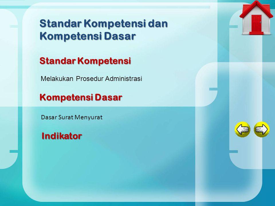 Melakukan Prosedur Administrasi Standar Kompetensi dan Kompetensi Dasar Standar Kompetensi Kompetensi Dasar Dasar Surat Menyurat Indikator