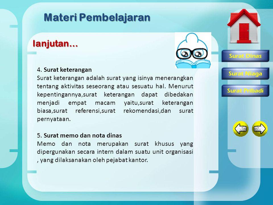 Materi Pembelajaran lanjutan… 4. Surat keterangan Surat keterangan adalah surat yang isinya menerangkan tentang aktivitas seseorang atau sesuatu hal.