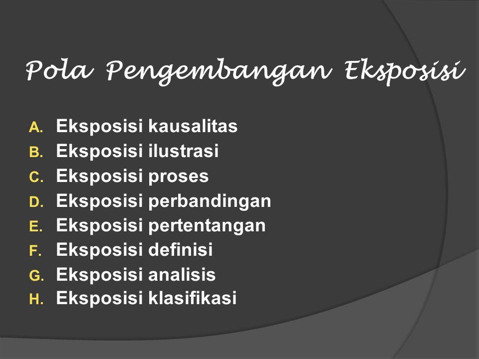 Pola Pengembangan Eksposisi A. Eksposisi kausalitas B. Eksposisi ilustrasi C. Eksposisi proses D. Eksposisi perbandingan E. Eksposisi pertentangan F.