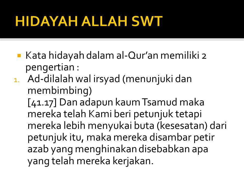  Kata hidayah dalam al-Qur'an memiliki 2 pengertian : 1. Ad-dilalah wal irsyad (menunjuki dan membimbing) [41.17] Dan adapun kaum Tsamud maka mereka