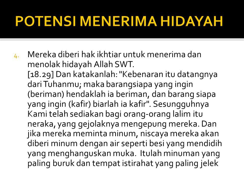 4. Mereka diberi hak ikhtiar untuk menerima dan menolak hidayah Allah SWT. [18.29] Dan katakanlah: