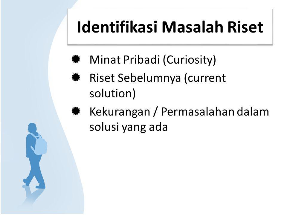 Minat Pribadi Curiosity (rasa ingin tahu) Personal Experience (pengalaman pribadi) Contoh: – Fakta/pengamatan: Banyak mahasiswa yang berasal dari SMU daerah (luar Jakarta) mempunyai IP > 3 – Pertanyaan: Apa yang menyebabkan mahasiswa luar Jakarta, IP-nya > 3 .