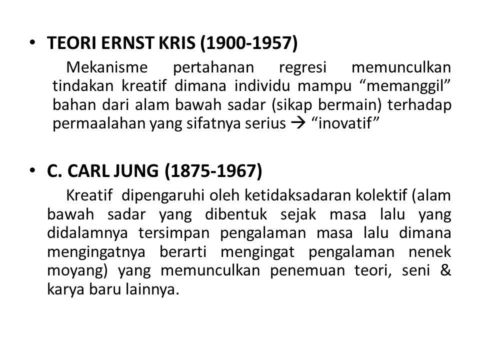 """TEORI ERNST KRIS (1900-1957) Mekanisme pertahanan regresi memunculkan tindakan kreatif dimana individu mampu """"memanggil"""" bahan dari alam bawah sadar ("""
