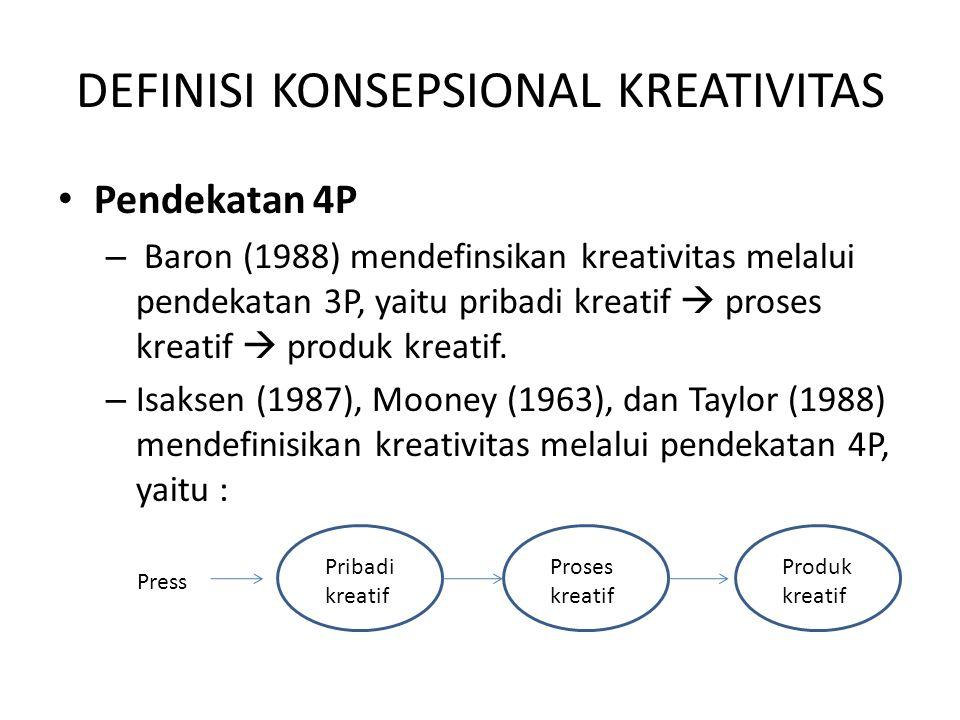 DEFINISI KONSEPSIONAL KREATIVITAS Pendekatan 4P – Baron (1988) mendefinsikan kreativitas melalui pendekatan 3P, yaitu pribadi kreatif  proses kreatif