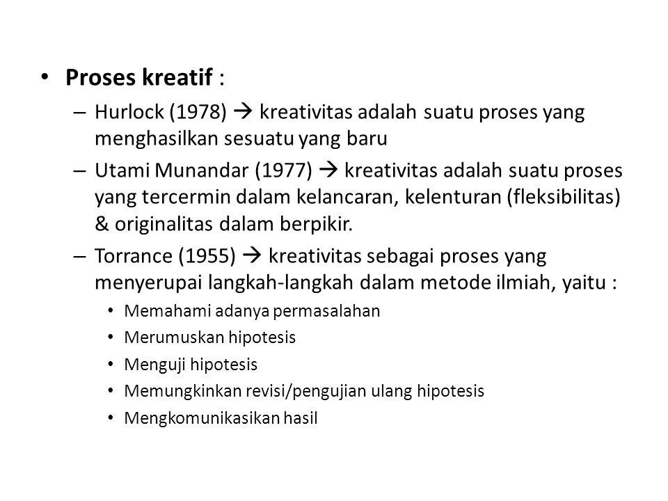 Proses kreatif : – Hurlock (1978)  kreativitas adalah suatu proses yang menghasilkan sesuatu yang baru – Utami Munandar (1977)  kreativitas adalah s