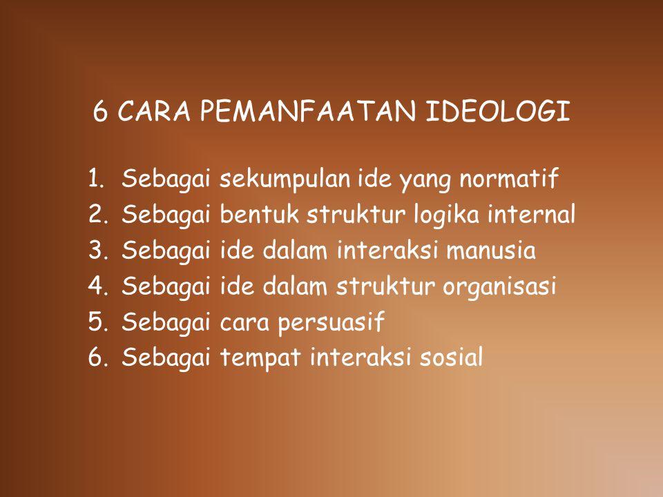 6 CARA PEMANFAATAN IDEOLOGI 1.Sebagai sekumpulan ide yang normatif 2.Sebagai bentuk struktur logika internal 3.Sebagai ide dalam interaksi manusia 4.Sebagai ide dalam struktur organisasi 5.Sebagai cara persuasif 6.Sebagai tempat interaksi sosial