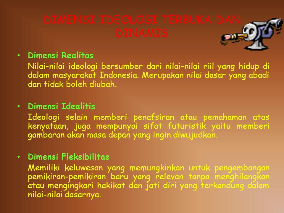 DIMENSI IDEOLOGI TERBUKA DAN DINAMIS Dimensi Realitas Nilai-nilai ideologi bersumber dari nilai-nilai riil yang hidup di dalam masyarakat Indonesia.