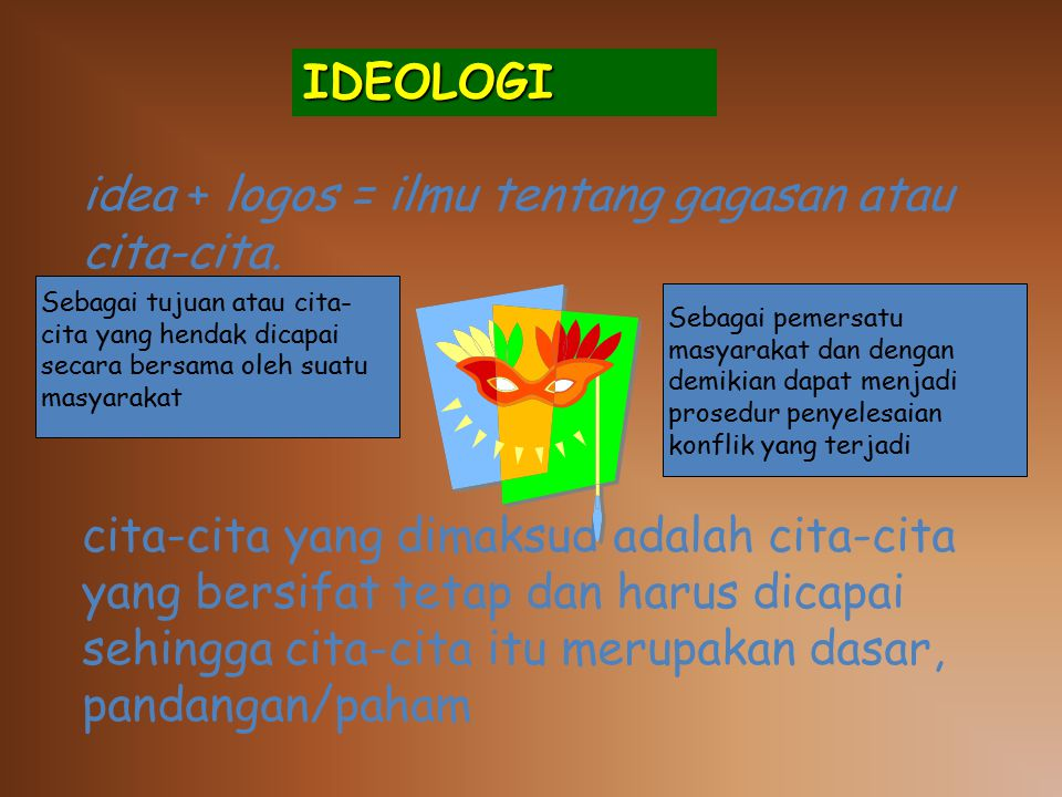 IDEOLOGI idea + logos = ilmu tentang gagasan atau cita-cita.