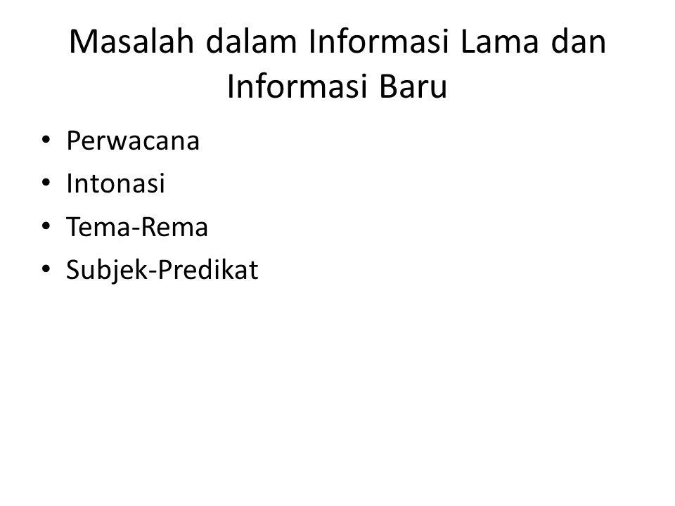 Masalah dalam Informasi Lama dan Informasi Baru Perwacana Intonasi Tema-Rema Subjek-Predikat