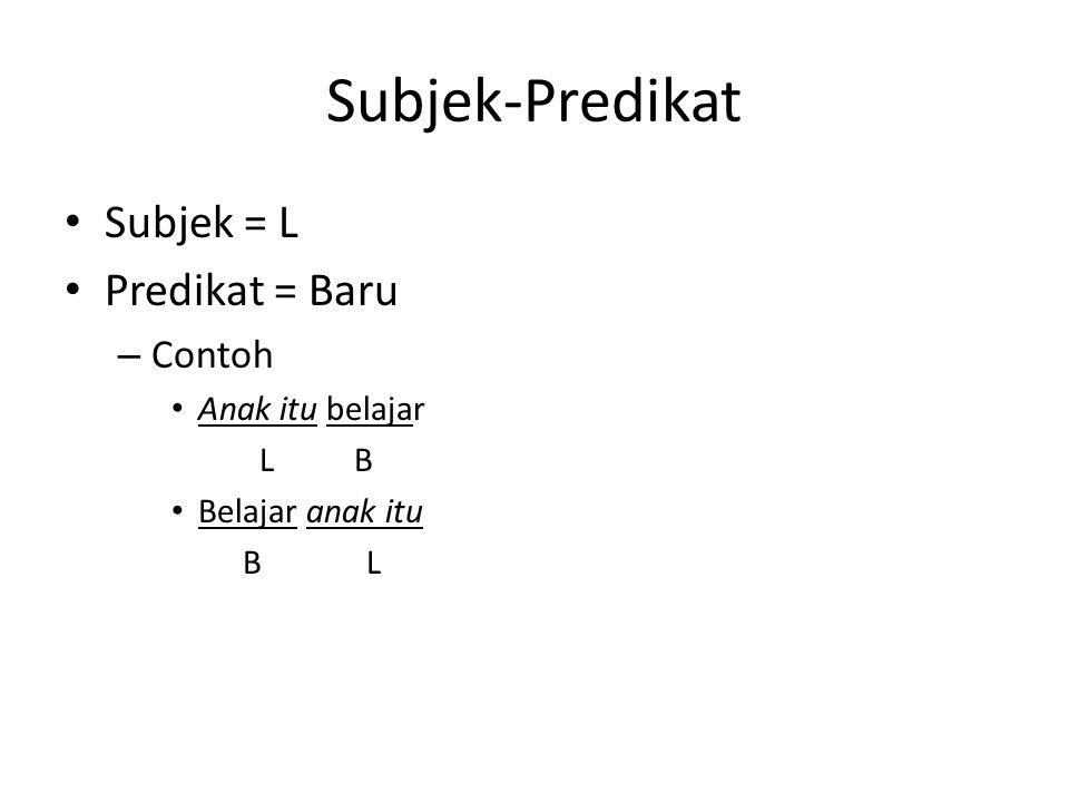 Subjek-Predikat Subjek = L Predikat = Baru – Contoh Anak itu belajar L B Belajar anak itu B L