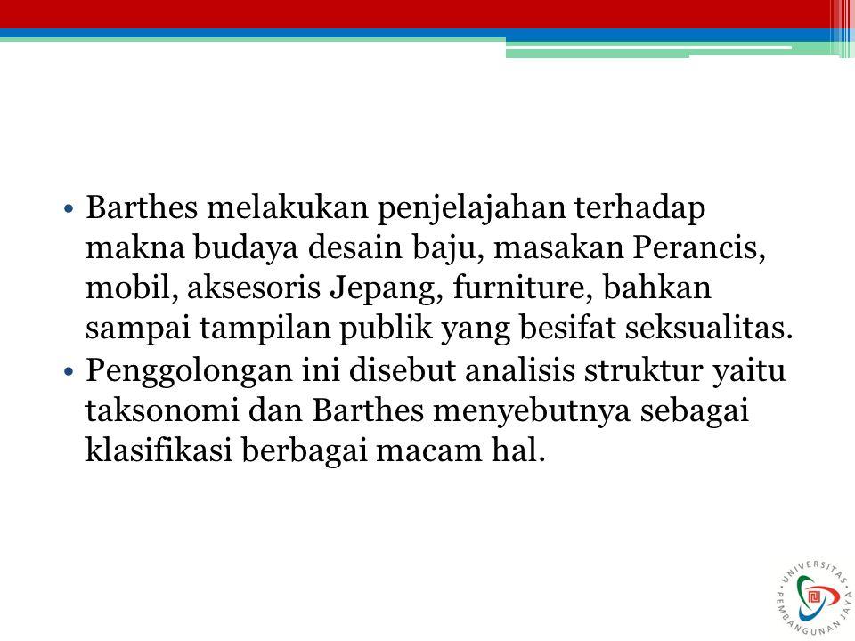 Barthes melakukan penjelajahan terhadap makna budaya desain baju, masakan Perancis, mobil, aksesoris Jepang, furniture, bahkan sampai tampilan publik yang besifat seksualitas.