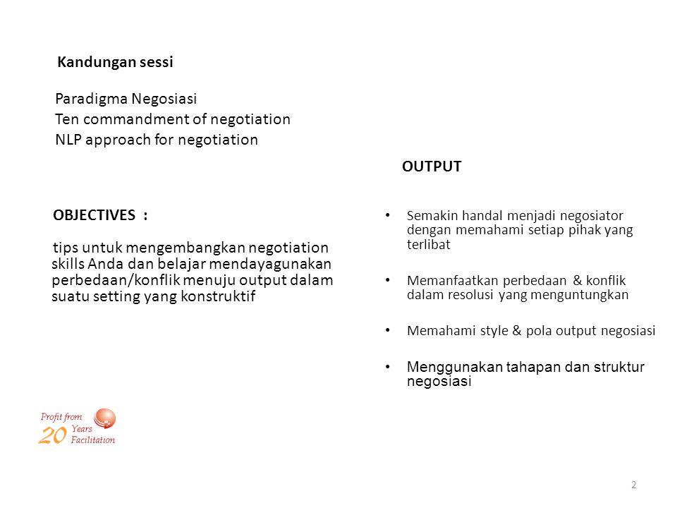 2 Kandungan sessi Paradigma Negosiasi Ten commandment of negotiation NLP approach for negotiation OBJECTIVES : tips untuk mengembangkan negotiation sk