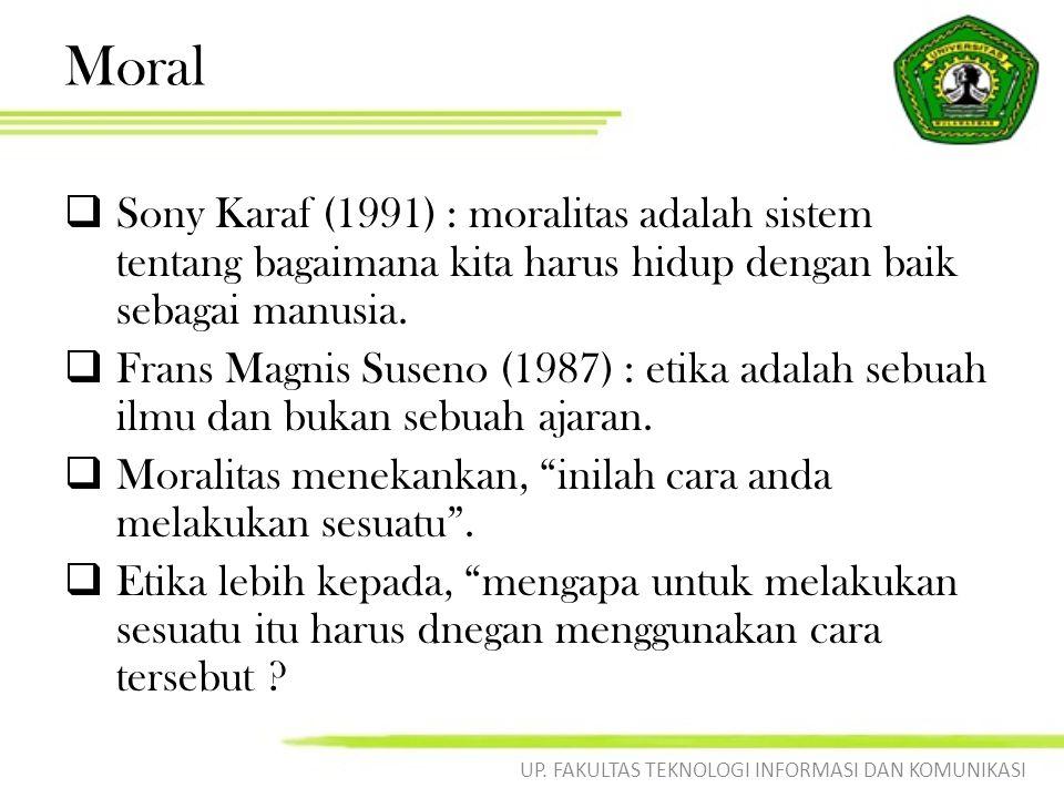 Moral  Sony Karaf (1991) : moralitas adalah sistem tentang bagaimana kita harus hidup dengan baik sebagai manusia.  Frans Magnis Suseno (1987) : eti