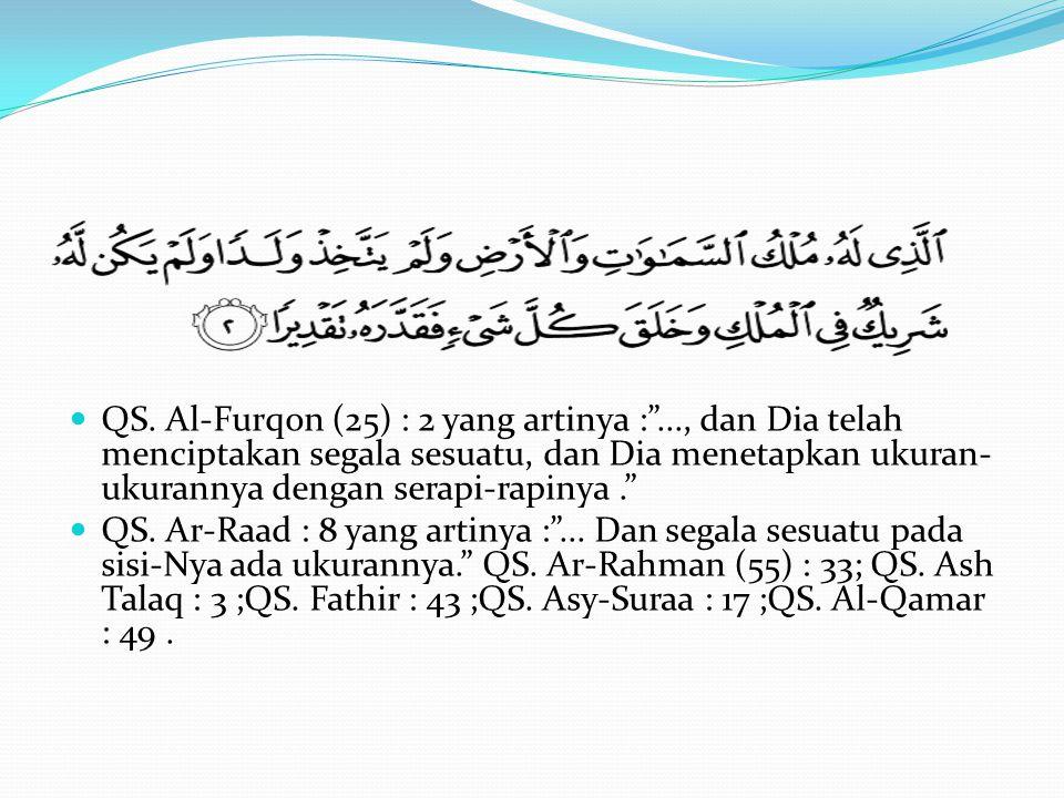 """QS. Al-Furqon (25) : 2 yang artinya :""""..., dan Dia telah menciptakan segala sesuatu, dan Dia menetapkan ukuran- ukurannya dengan serapi-rapinya."""" QS."""