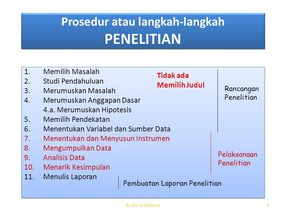 Prosedur atau langkah-langkah PENELITIAN 1.Memilih Masalah 2.Studi Pendahuluan 3.Merumuskan Masalah 4.Merumuskan Anggapan Dasar 4.a. Merumuskan Hipote