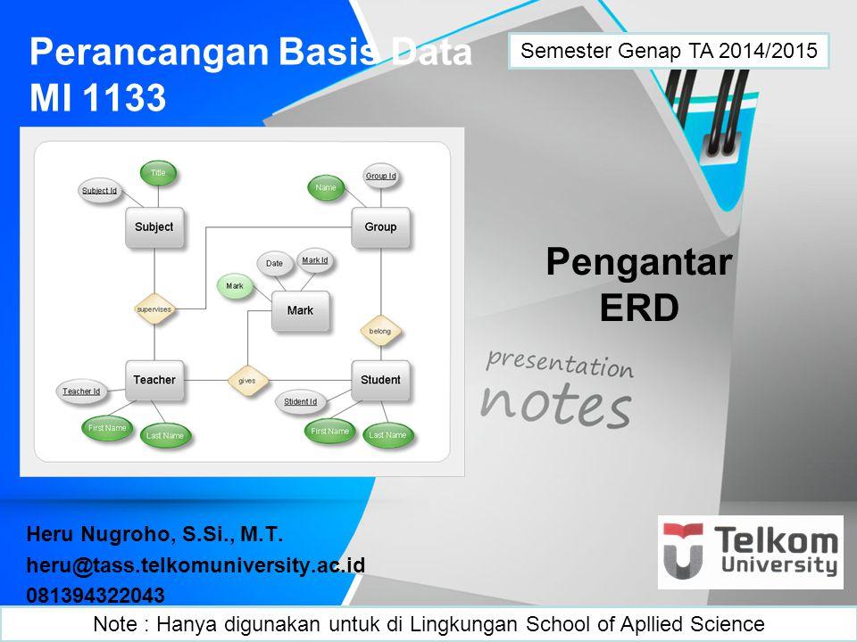ER Diagram Penyusunan basis data (database) selalu didahului dengan pekerjaan pemodelan data.