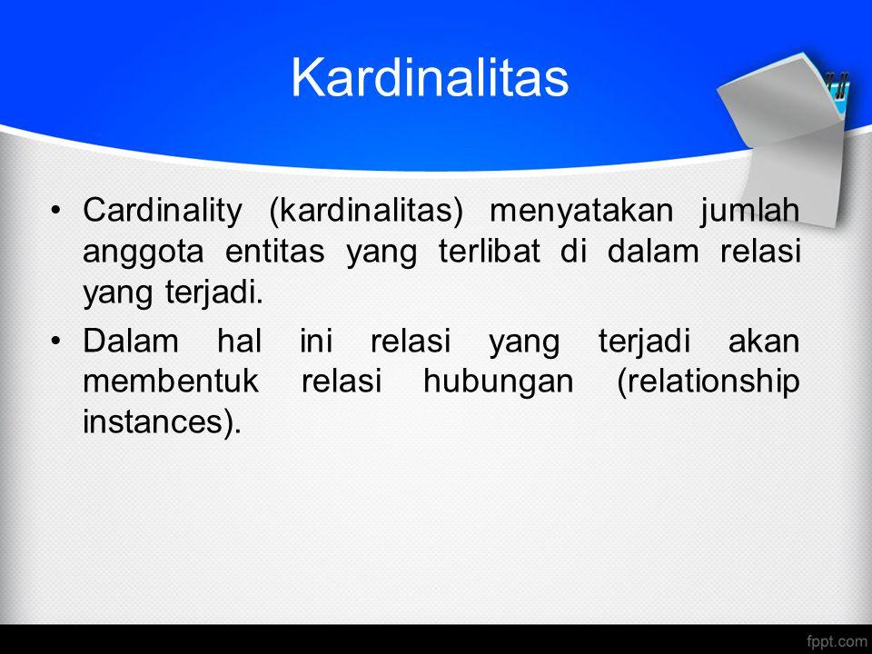 Kardinalitas Cardinality (kardinalitas) menyatakan jumlah anggota entitas yang terlibat di dalam relasi yang terjadi. Dalam hal ini relasi yang terjad