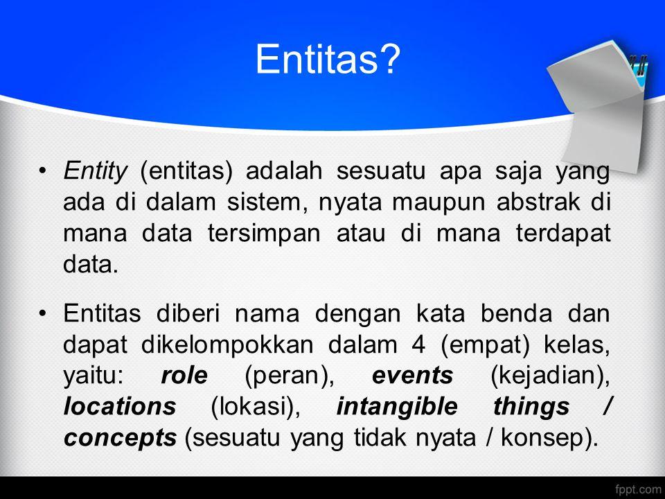 Entitas? Entity (entitas) adalah sesuatu apa saja yang ada di dalam sistem, nyata maupun abstrak di mana data tersimpan atau di mana terdapat data. En
