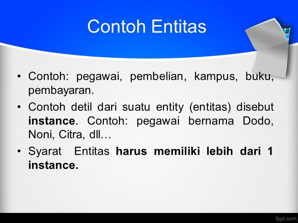 Entitas Entitas digambarkan (dalam basis data) dengan menggunakan himpunan atribut.