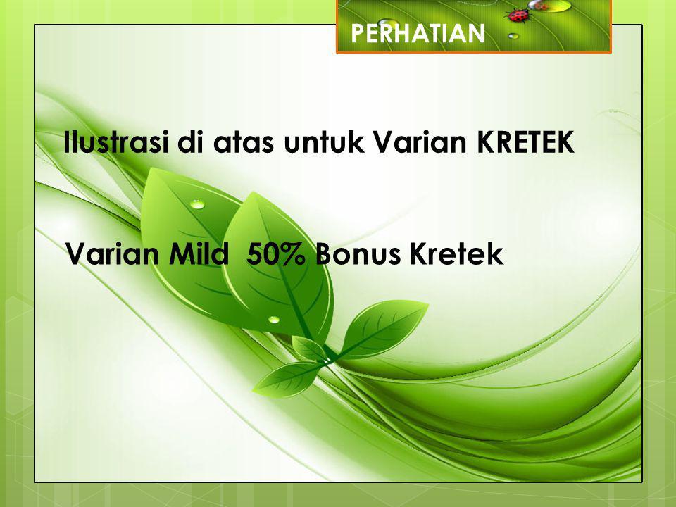 PERHATIAN Ilustrasi di atas untuk Varian KRETEK Varian Mild 50% Bonus Kretek
